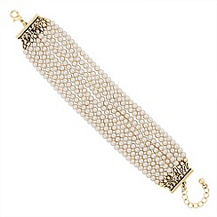 Jon Richard - Cream pearl multi row bracelet
