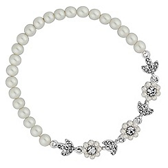 Alan Hannah Devoted - Daisy chain pearl and crystal stretch bracelet