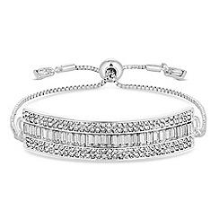 Jon Richard - Silver crystal bar toggle bracelet