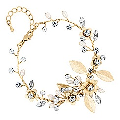 Alan Hannah Devoted - Gold blossom crystal freshwater pearl bracelet