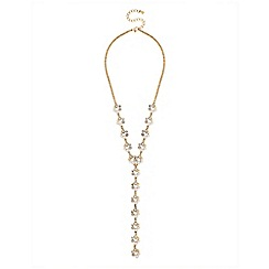 Lipsy - Pearl and crystal hoop lariat necklace