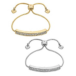 Lipsy - Crystal pave bar toggle bracelet set