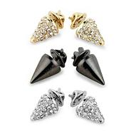 Set of three crystal spike collar tips
