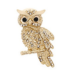 Mood - Crystal embellished owl brooch