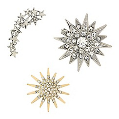 Mood - Set of three crystal star brooches