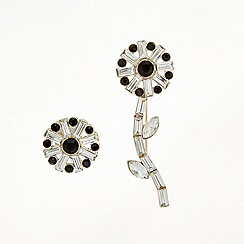 Mood - Set of two jet and crystal baguette flower brooch