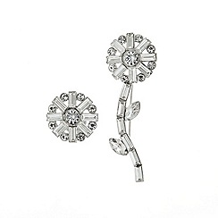 Mood - Set of two crystal baguette flower brooch
