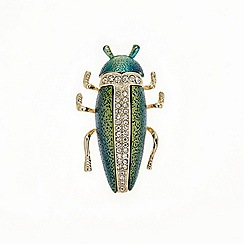 Mood - Crystal embellished scarab beetle brooch