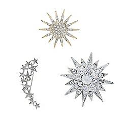 Mood - Silver crystal star brooch pack