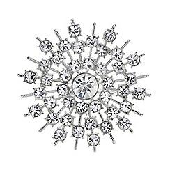 Mood - Silver crystal snowflake brooch