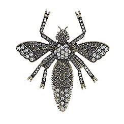 Mood - Gold crystal bug brooch
