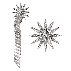 Mood - Silver crystal shooting star brooch pack