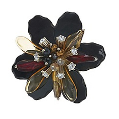 Mood - Jet 3d flower crystal brooch