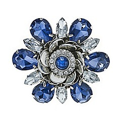 Mood - Blue crystal flower brooch