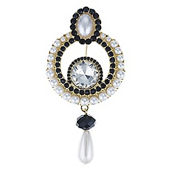 Mood - Crystal and pearl droplet brooch
