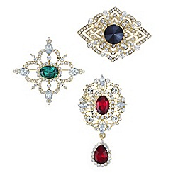 Mood - Ornate crystal brooch pack