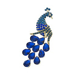 Mood - Blue crystal gold peacock brooch