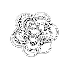 Mood - Silver crystal floral pave brooch