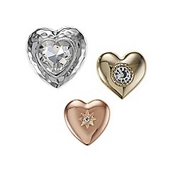 Mood - Mixed tone crystal heart brooch set
