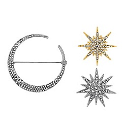 Mood - Star and moon crystal brooch set