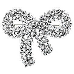 Mood - Silver crystal bow brooch
