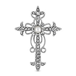 Mood - Crystal and pearl cross brooch