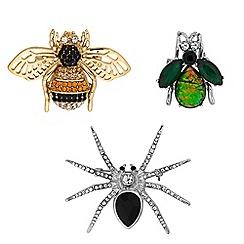 Mood - Crystal bug brooch set