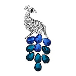 Mood - Crystal peacock brooch