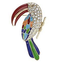 Mood - Crystal tropical bird brooch