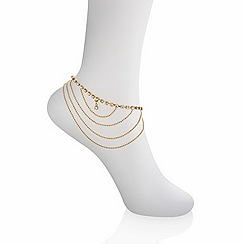 Mood - Gold crystal ball and chain anklet