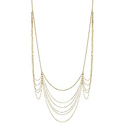 Mood - Gold crystal multi row chain necklace