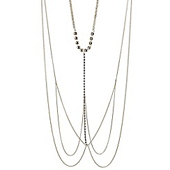 Mood - Gold chain and diamante long body chain necklace