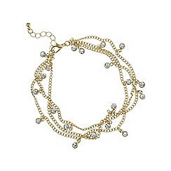 Mood - Gold crystal multi row anklet