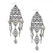 Filigree and leaf charm chandelier earring