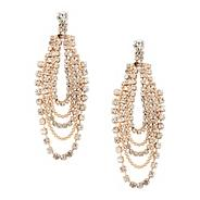Diamante crystal and ball chain loop earring