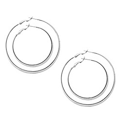Mood - Set of two large silver hoop earrings