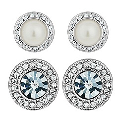 Mood - Set of two round pearl and crystal stud earrings