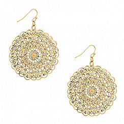 Mood - Crystal embellished filigree disc drop earring