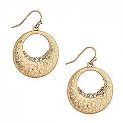 Mood - Crystal encased textured disc drop earring
