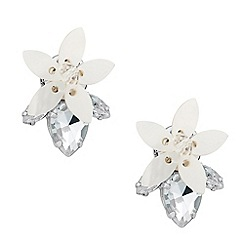 Mood - Shell effect floral crystal drop earring