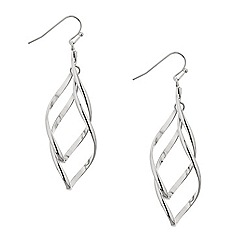 Mood - Polished silver twist drop earring
