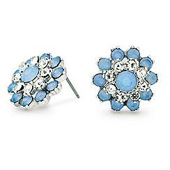 Mood - Blue crystal flower stud earring
