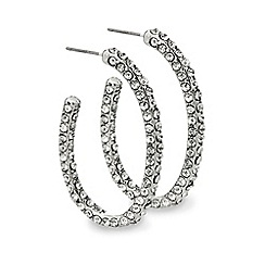 Mood - Crystal embellished oval hoop earring