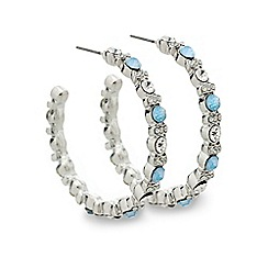Mood - Blue crystal embellished hoop earring