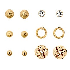 Mood - Set of six mixed gold stud earrings