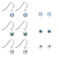 Mood - Set of six silver stud and teardrop earrings