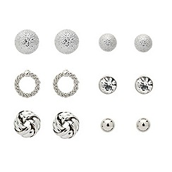Mood - Set of six mixed silver stud earrings