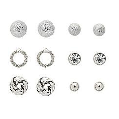 Mood - Set of six mixed silver stud earrings