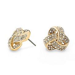 Mood - Crystal embellished gold knot stud earring