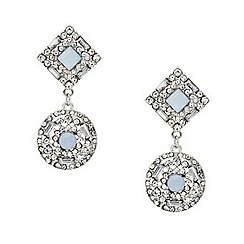 Mood - Blue crystal embellished round drop earring